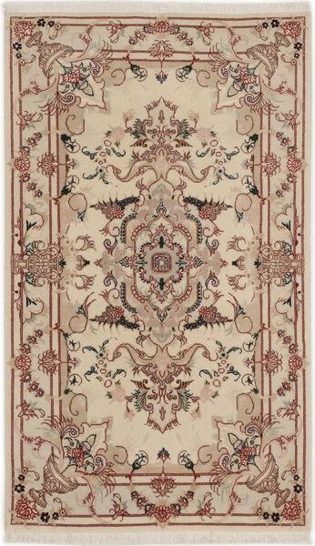 Tabriz 50 Raj Med Silke Matta 74X127 Äkta Orientalisk Handknuten Ljusgrå/Mörkbrun/Ljusbrun (Ull/Silke, Persien/Iran)