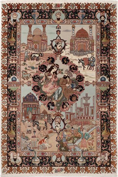 Tabriz 50 Raj Med Silke Matta 100X148 Äkta Orientalisk Handknuten Mörkbrun/Ljusgrå (Ull/Silke, Persien/Iran)