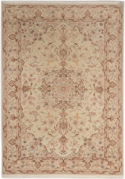 Tabriz 50 Raj Med Silke Matta 107X150 Äkta Orientalisk Handknuten Brun/Ljusbrun/Mörkbeige (Ull/Silke, Persien/Iran)