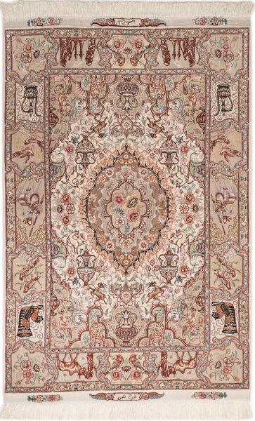 Tabriz 50 Raj Med Silke Matta 102X150 Äkta Orientalisk Handknuten Mörkröd/Ljusgrå (Ull/Silke, Persien/Iran)