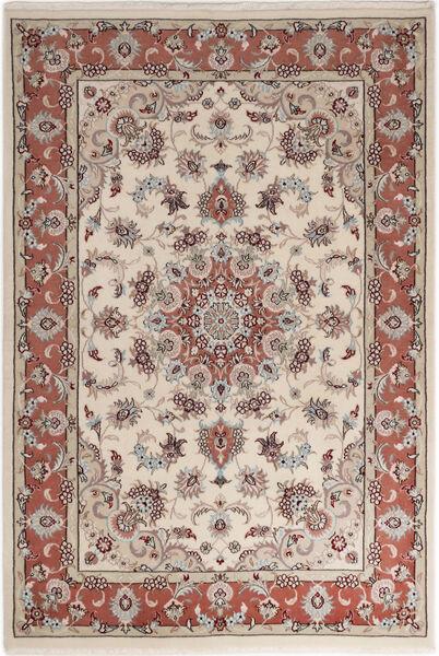 Tabriz 50 Raj Med Silke Matta 110X158 Äkta Orientalisk Handknuten Ljusgrå/Ljusbrun (Ull/Silke, Persien/Iran)