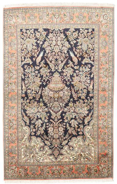 Kashmir Äkta Silke Matta 124X193 Äkta Orientalisk Handknuten Mörkbeige/Beige (Silke, Indien)