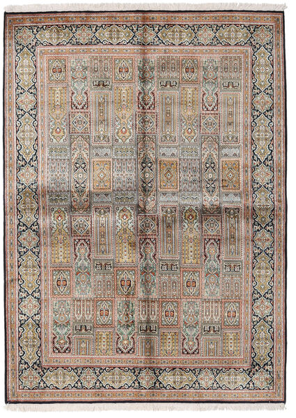 Kashmir Äkta Silke Matta 155X214 Äkta Orientalisk Handknuten Ljusgrå/Brun (Silke, Indien)