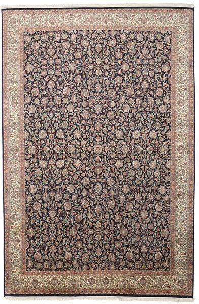 Kashmir Äkta Silke Matta 211X319 Äkta Orientalisk Handknuten Ljusgrå/Svart (Silke, Indien)