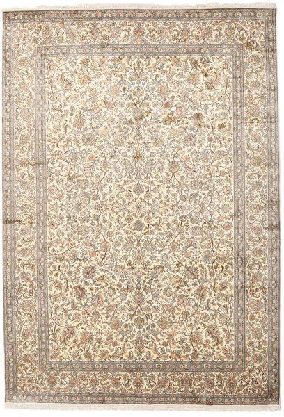 Kashmir Äkta Silke Matta 220X315 Äkta Orientalisk Handknuten Ljusgrå/Beige (Silke, Indien)