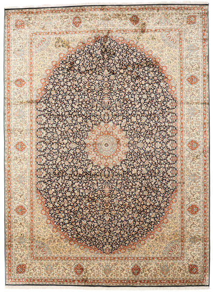Kashmir Äkta Silke Matta 247X339 Äkta Orientalisk Handknuten Beige/Mörkbrun (Silke, Indien)