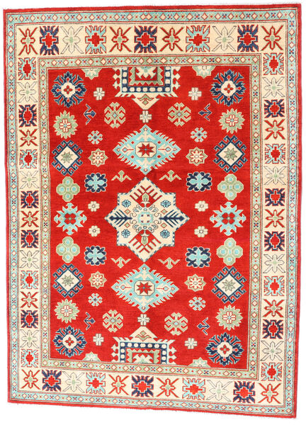Kazak Matta 150X204 Äkta Orientalisk Handknuten Röd/Mörkbeige (Ull, Afghanistan)