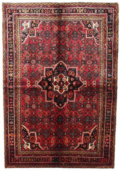 Hamadan Matta 164X240 Äkta Orientalisk Handknuten Mörkröd/Brun (Ull, Persien/Iran)