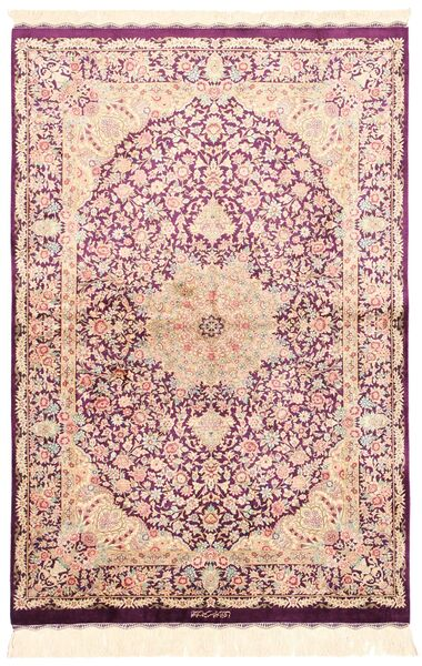 Ghom Silke Matta 100X148 Äkta Orientalisk Handvävd Beige/Ljusrosa (Silke, Persien/Iran)