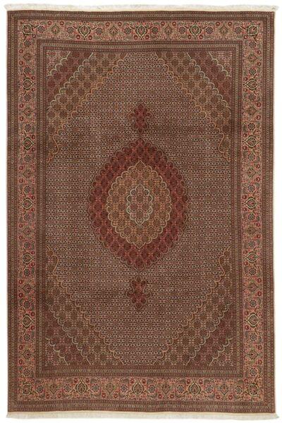 Tabriz 50 Raj Matta 207X307 Äkta Orientalisk Handknuten Brun/Mörkbrun (Ull/Silke, Persien/Iran)