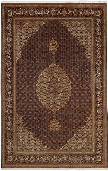 Tabriz 50 Raj Matta 200X313 Äkta Orientalisk Handvävd Brun/Mörkbrun (Ull/Silke, Persien/Iran)