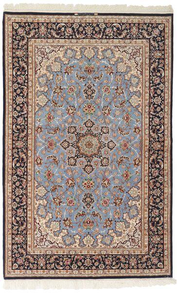 Isfahan Silkesvarp Matta 156X239 Äkta Orientalisk Handvävd Ljusgrå/Mörkbrun (Ull/Silke, Persien/Iran)