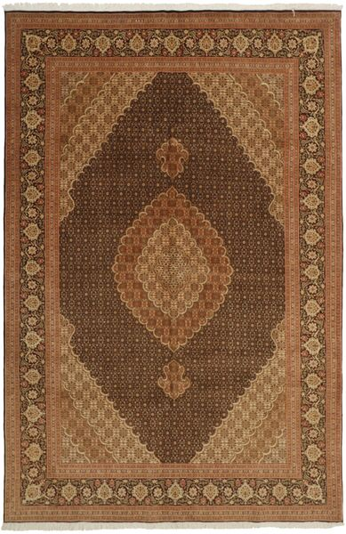 Tabriz 50 Raj Matta 196X301 Äkta Orientalisk Handvävd Brun/Mörkbrun (Ull/Silke, Persien/Iran)