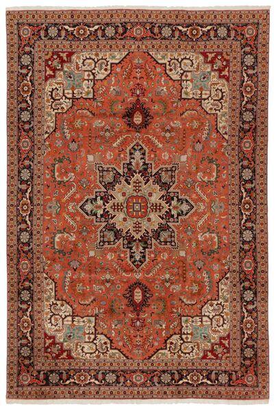 Tabriz 50 Raj Matta 203X304 Äkta Orientalisk Handknuten Mörkbrun/Röd (Ull/Silke, Persien/Iran)