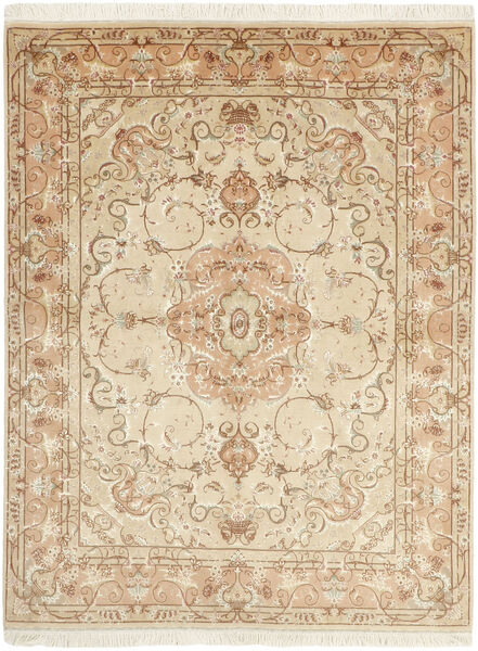 Tabriz 50 Raj Matta 151X197 Äkta Orientalisk Handvävd Beige/Mörkbeige (Ull/Silke, Persien/Iran)