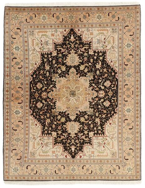 Tabriz 50 Raj Matta 150X200 Äkta Orientalisk Handvävd Mörkbeige/Ljusbrun (Ull/Silke, Persien/Iran)