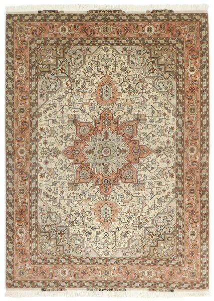 Tabriz 50 Raj Matta 151X213 Äkta Orientalisk Handvävd Brun/Beige (Ull/Silke, Persien/Iran)