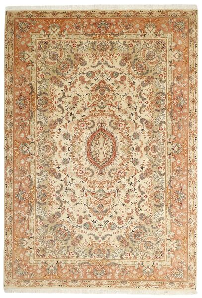 Tabriz 50 Raj Matta 205X297 Äkta Orientalisk Handvävd Beige/Brun (Ull/Silke, Persien/Iran)