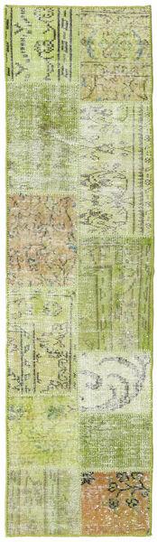 Patchwork - Turkiet Matta 56X201 Äkta Modern Handknuten Hallmatta Ljusgrön (Ull, Turkiet)