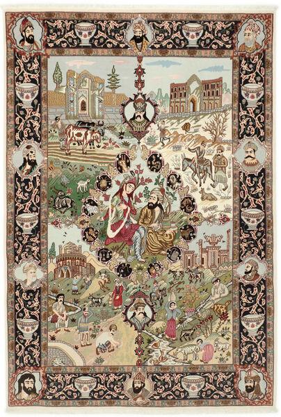 Tabriz 50 Raj Matta 150X219 Äkta Orientalisk Handknuten Brun/Ljusbrun (Ull/Silke, Persien/Iran)