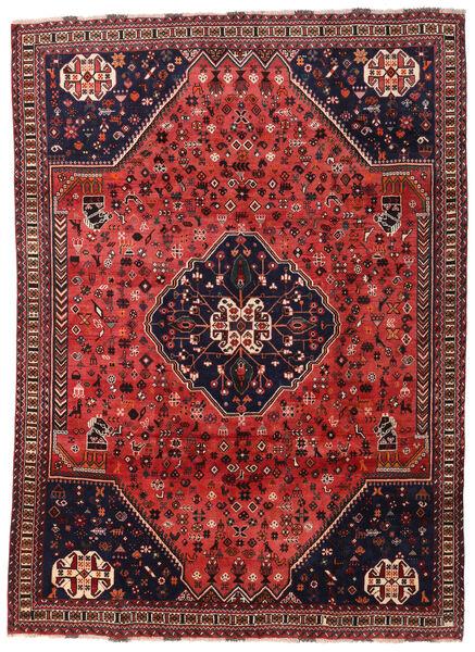 Shiraz Matta 210X285 Äkta Orientalisk Handknuten Mörkröd/Svart/Roströd (Ull, Persien/Iran)