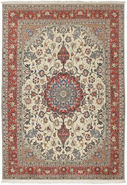 Tabriz 50 Raj Matta 154X224 Äkta Orientalisk Handknuten Ljusgrå/Mörkbrun (Ull/Silke, Persien/Iran)