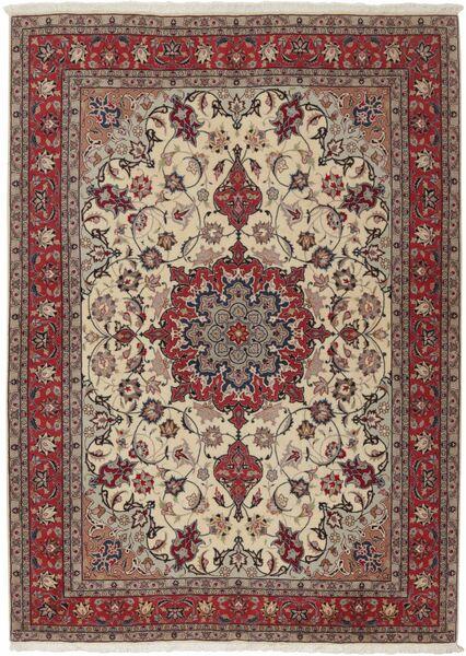Tabriz 50 Raj Matta 155X211 Äkta Orientalisk Handknuten Ljusgrå/Mörkröd (Ull/Silke, Persien/Iran)