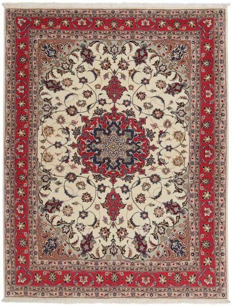 Tabriz 50 Raj Matta 151X203 Äkta Orientalisk Handknuten Ljusgrå/Mörkröd (Ull/Silke, Persien/Iran)