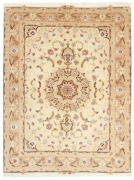 Tabriz 50 Raj Matta 153X208 Äkta Orientalisk Handknuten Beige/Mörkbeige (Ull/Silke, Persien/Iran)