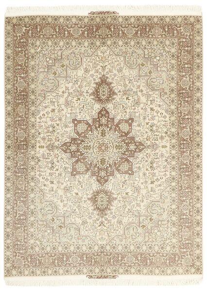 Tabriz 50 Raj Matta 148X200 Äkta Orientalisk Handknuten Beige/Ljusgrå (Ull/Silke, Persien/Iran)