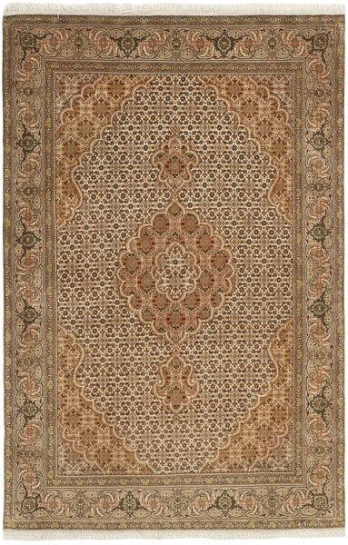 Tabriz 50 Raj Matta 100X158 Äkta Orientalisk Handknuten Ljusbrun/Brun (Ull/Silke, Persien/Iran)
