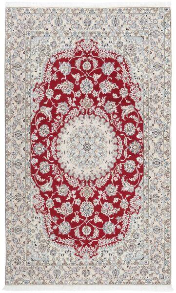Nain 9La Matta 154X251 Äkta Orientalisk Handknuten Ljusgrå/Mörkröd (Ull/Silke, Persien/Iran)