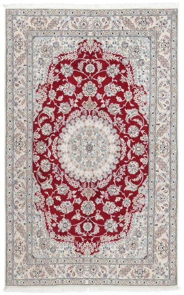Nain 9La Matta 152X244 Äkta Orientalisk Handknuten Ljusgrå/Mörkröd (Ull/Silke, Persien/Iran)