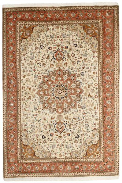 Tabriz 50 Raj Matta 202X305 Äkta Orientalisk Handknuten Brun/Ljusbrun (Ull/Silke, Persien/Iran)