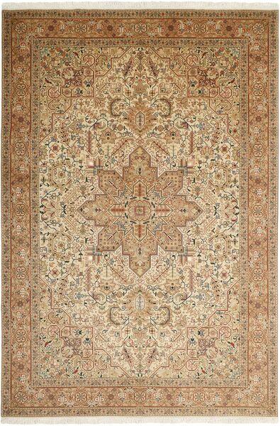 Tabriz 50 Raj Matta 200X302 Äkta Orientalisk Handknuten Ljusbrun/Beige/Brun (Ull/Silke, Persien/Iran)