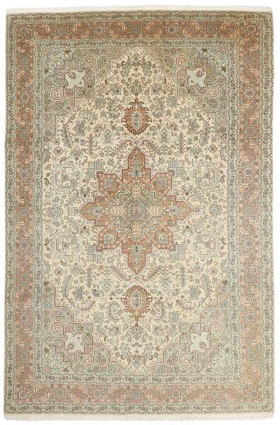 Tabriz 50 Raj Matta 202X306 Äkta Orientalisk Handknuten Ljusgrå/Ljusbrun (Ull/Silke, Persien/Iran)