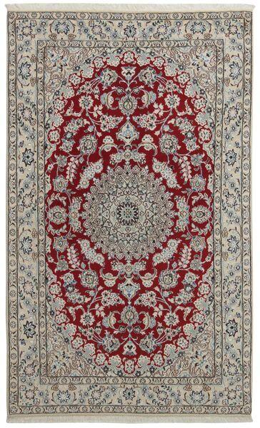 Nain 9La Matta 128X212 Äkta Orientalisk Handknuten Ljusgrå/Mörkröd (Ull/Silke, Persien/Iran)