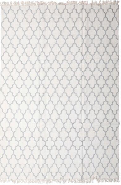 Bambu Silke Kelim Matta 200X300 Äkta Modern Handvävd Ljusgrå/Vit/Cremefärgad (Ull/Bambusilke, Indien)