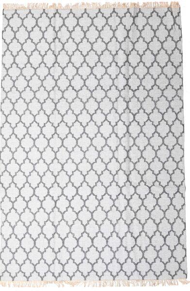 Bambu Silke Kelim Matta 200X300 Äkta Modern Handvävd Vit/Cremefärgad/Ljusgrå (Ull/Bambusilke, Indien)