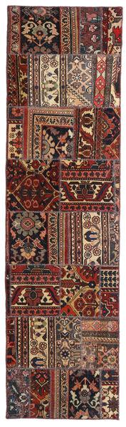 Patchwork - Persien/Iran Matta 70X258 Äkta Modern Handknuten Hallmatta Mörkröd/Svart (Ull, Persien/Iran)