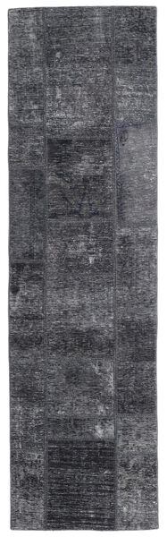 Patchwork - Persien/Iran Matta 71X251 Äkta Modern Handknuten Hallmatta Mörkgrå/Ljuslila (Ull, Persien/Iran)