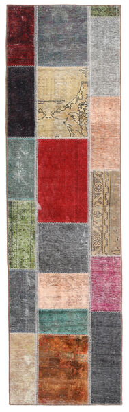 Patchwork - Persien/Iran Matta 71X252 Äkta Modern Handknuten Hallmatta Mörkbrun/Blå (Ull, Persien/Iran)
