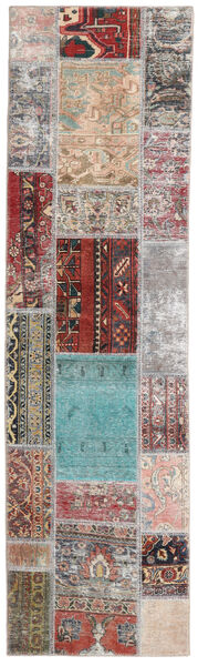Patchwork - Persien/Iran Matta 72X252 Äkta Modern Handknuten Hallmatta Ljusgrå/Mörkbrun (Ull, Persien/Iran)