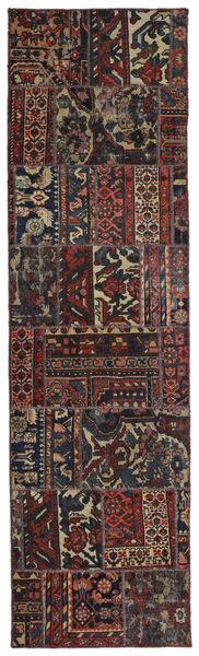 Patchwork - Persien/Iran Matta 74X262 Äkta Modern Handknuten Hallmatta Svart/Mörkbrun (Ull, Persien/Iran)