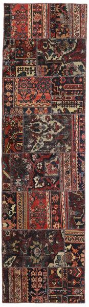 Patchwork - Persien/Iran Matta 72X256 Äkta Modern Handknuten Hallmatta Svart/Mörkröd (Ull, Persien/Iran)
