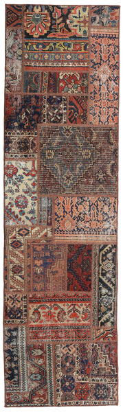 Patchwork - Persien/Iran Matta 68X246 Äkta Modern Handknuten Hallmatta Mörkröd/Mörkbrun (Ull, Persien/Iran)