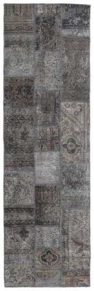 Patchwork - Persien/Iran Matta 76X251 Äkta Modern Handknuten Hallmatta Mörkgrå/Ljusgrå (Ull, Persien/Iran)