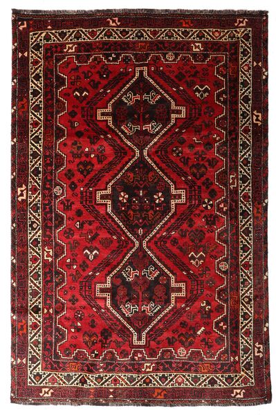 Shiraz Matta 170X259 Äkta Orientalisk Handknuten Mörkröd/Mörkbrun (Ull, Persien/Iran)