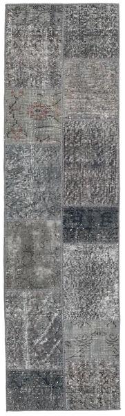Patchwork - Turkiet Matta 56X201 Äkta Modern Handknuten Hallmatta Mörkgrå/Ljusgrå (Ull, Turkiet)