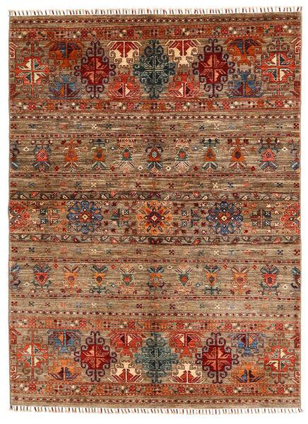 Shabargan Matta 153X209 Äkta Modern Handknuten Mörkbrun/Ljusbrun (Ull, Afghanistan)